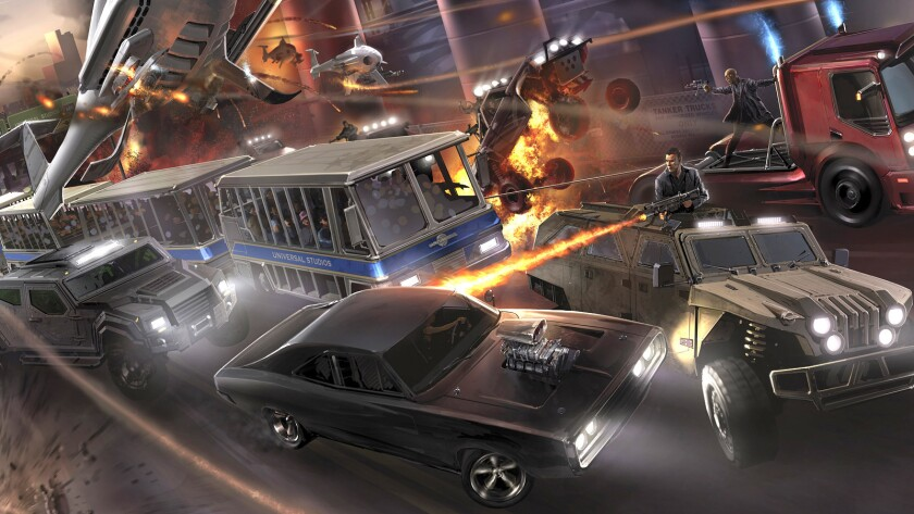 The Fast & Furious: Supercharged attraction at Universal Studios Hollywood combines a motion-based simulator with a massive wraparound movie screen.