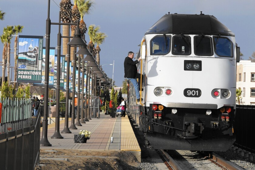 Local, state and federal officials dedicated Metrolink's new Perris to Riverside link at the Perris station on Friday. Service will begin in early 2016.