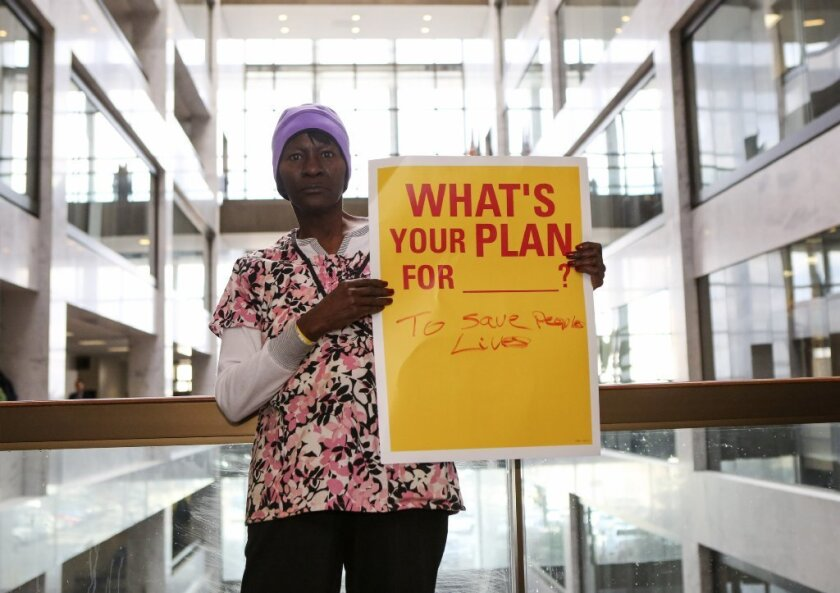 Elinor Simmons of Missouri protests against the repeal of the Affordable Care Act during a recent demonstration inside a Senate office building in Washington.