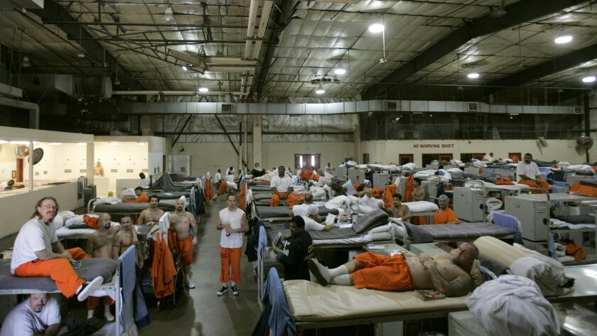 This photo, taken in April 2006, shows how crowded the gym was at Donovan state prison when it had to house inmates.
