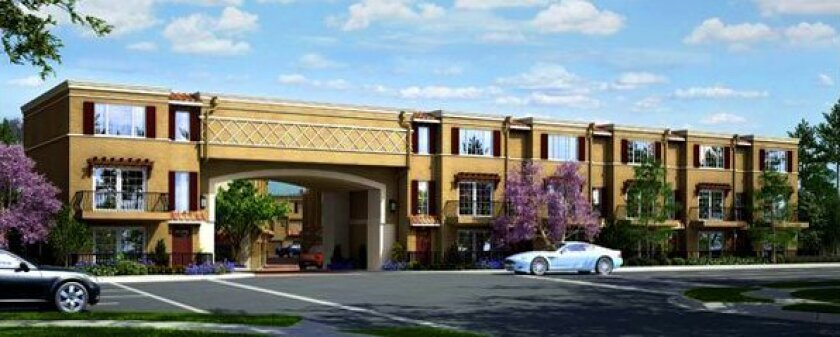 Artist's rendering of the Ziani townhomes at 2400 Torrey Pines Road in La Jolla Shores.
