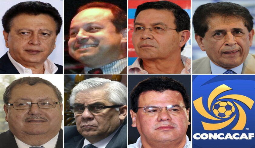 This combination of file photos shows CONCACAF region officials implicated in the bribery and corruption scandal engulfing FIFA. Left to right from top row are Alfredo Hawit, Ariel Alvarado, Rafael Callejas, Brayan Jiménez, Rafael Salguero, Héctor Trujillo and Reynaldo Vazquez.