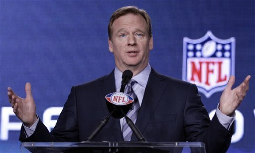NFL Commissioner Roger Goodell answers a question during a news conference Friday, Feb. 3, 2012, in Indianapolis. The New England Patriots will face the New York Giants in Super Bowl XLVI on Feb. 5. (AP Photo/David J. Phillip)
