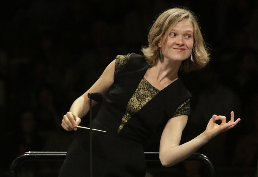Mirga Grazinyté-Tyla conducts the L.A. Philharmonic at the Hollywood Bowl on Aug. 20, 2015.