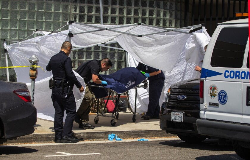 Coroner's officials remove the body of a homeless man found on the sidewalk at Massachusetts Avenue and Sepulveda Boulevard in Los Angeles on Sept. 1.
