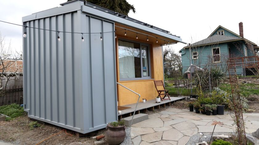 SEATTLE WA MARCH 30, 2018 -- A 125-square-foot tiny house belonging to a formerly homeless man sit