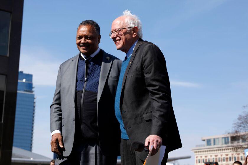 The Rev. Jesse Jackson with Sen. Bernie Sanders