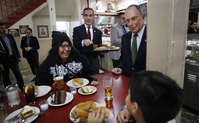 Michael Bloomberg visits Philippe the Original with L.A. Mayor Eric Garcetti.