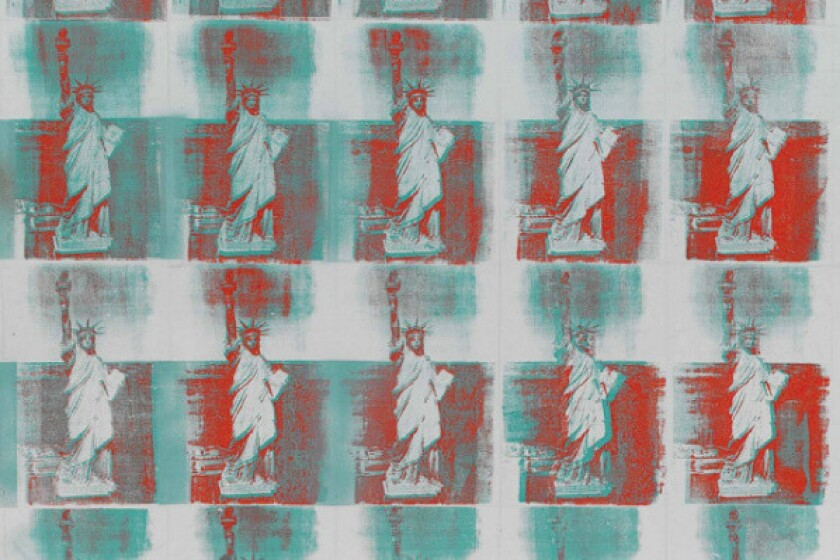 Andy Warhol's silkscreen depiction of the Statue of Liberty has sold for $43.8 million at a Christie's auction in New York.