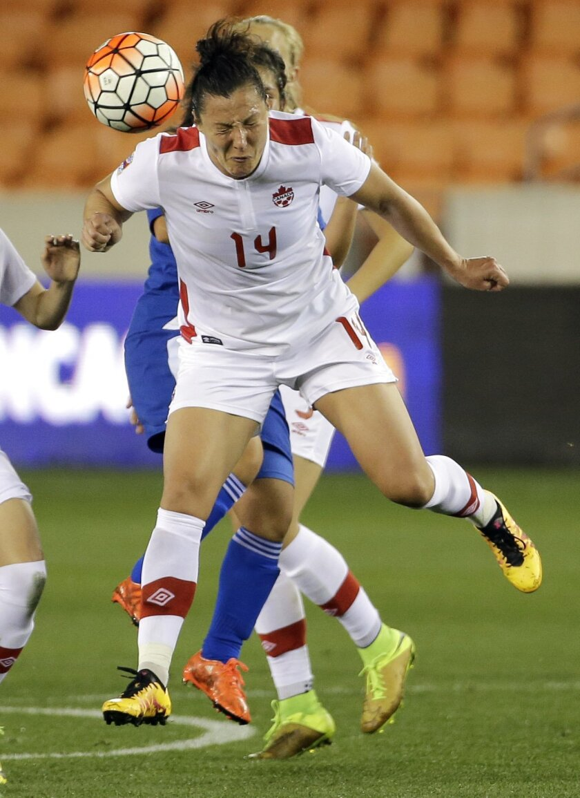 Canada's Melissa Tancredi (14) heads the ball against Guatemala during the first half of a CONCACAF Olympic qualifying tournament soccer match Tuesday, Feb. 16, 2016, in Houston. (AP Photo/David J. Phillip)