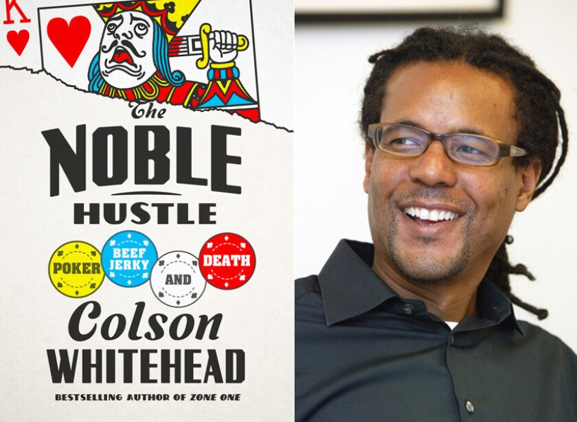 """The cover of """"The Noble Hustle"""" and author Colson Whitehead."""