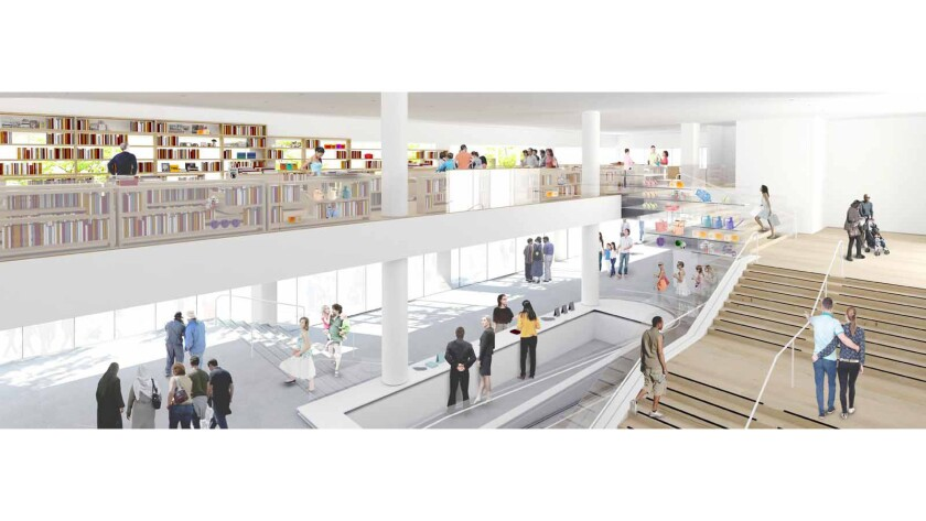 A new museum shop will occupy a mezzanine above the lobby, with windows overlooking Wilshire Boulevard.