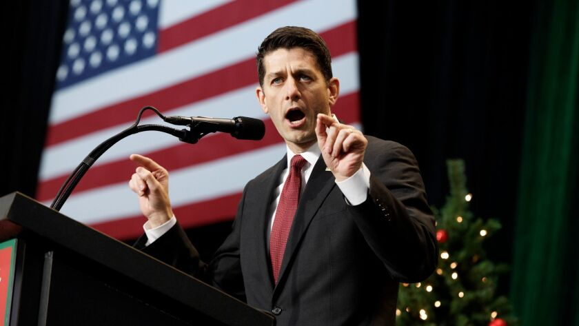 Speaker of the House Paul D. Ryan (R-Wis.), spearhead of the Obamacare repeal contingent, speaks during a rally for President-elect Donald Trump on Tuesday.