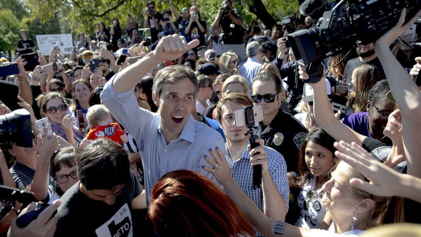 Beto O'Rourke, the 2018 Democratic candidate for U.S. Senate in Texas, greets supporters following a