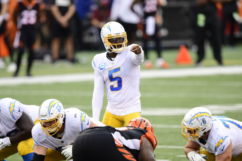 Los Angeles Chargers quarterback Tyrod Taylor calls a play against the Cincinnati Bengals on Sept. 13.