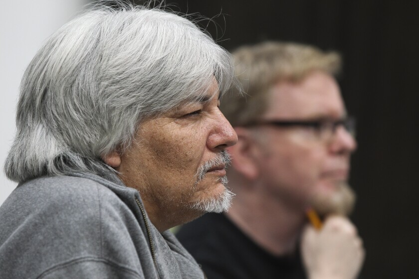 "Director Javier Velasco (left) and musical director-arranger Steve Gunderson watch a rehearsal for ""33 1/3: House of Dreams"" at San Diego Rep's rehearsal hall in Chula Vista."