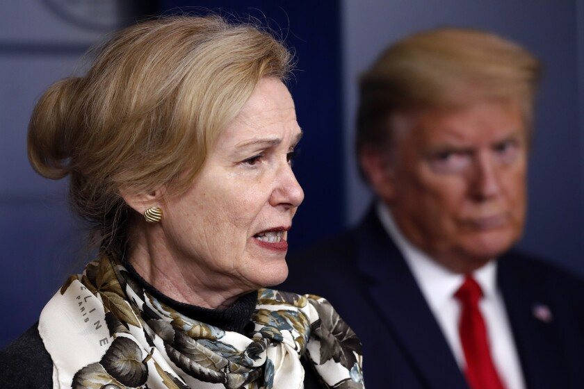 Dr. Deborah Birx at a news conference in April with President Trump