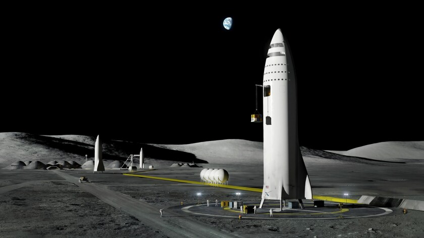 This artist's rendering shows SpaceX's proposed BFR rocket and spaceship system, which will be built