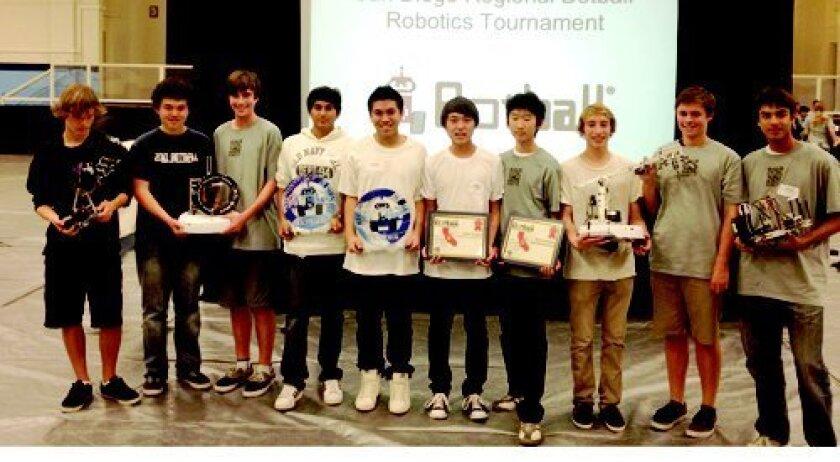 From left, Ben Lawson, Keefer Bibby, Tyler Bauer, Madhu Krishnan, Jesse Vismonte, Nick Guo, John Wu, Tommy Rutten, Kyle Joyner, Josh Send