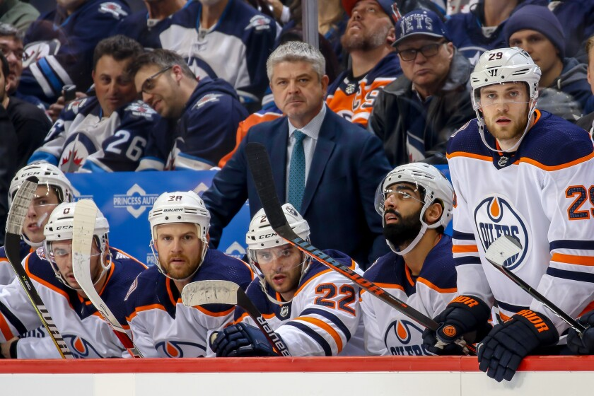 Edmonton Oilers coach Todd McLellan looks on during a game during the Winnipeg Jets in October 2018.