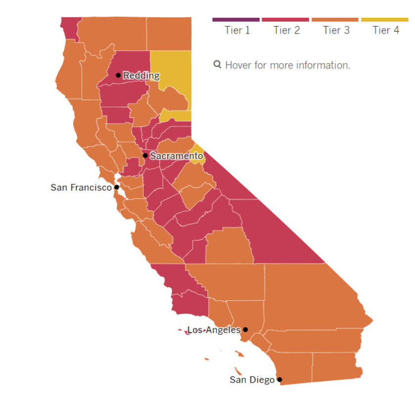 A map of California tier assignments