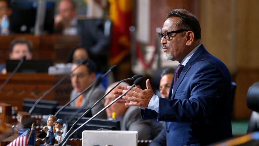 Los Angeles City Councilman Gil Cedillo speaks at Los Angeles City Hall in June.