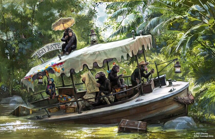 Concept art for updates coming to the Jungle Cruise attraction at Disneyland and Walt Disney World.