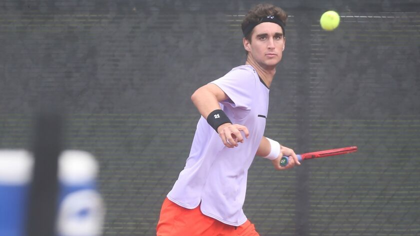 Max McKennon, shown hitting a forehand during a USTA Southern California Junior Sectional Championships match on June 21, 2019, is ranked No. 62 in the in the world in the ITF juniors.