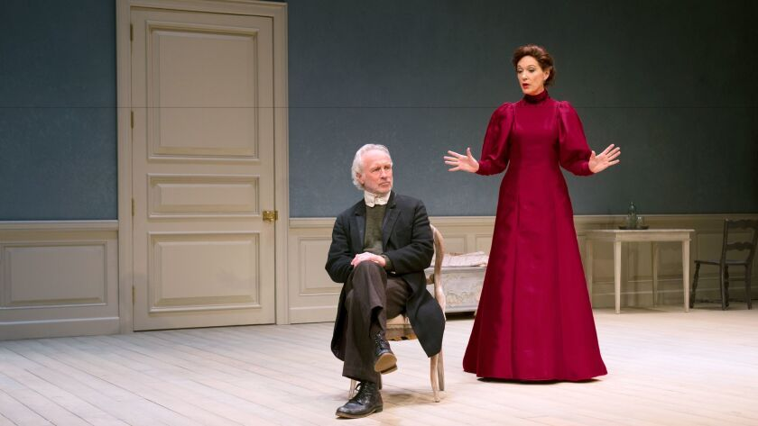 "Torvald (Bill Geisslinger), listening to Nora (Shannon Cochran) in ""A Doll's House, Part 2."""