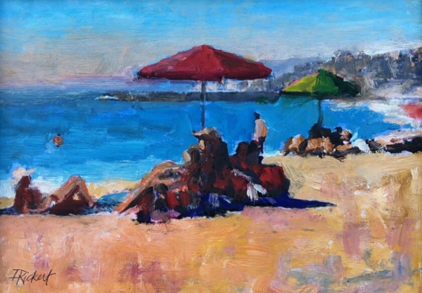 """A Day at the Beach"" oil painting by David Rickert"
