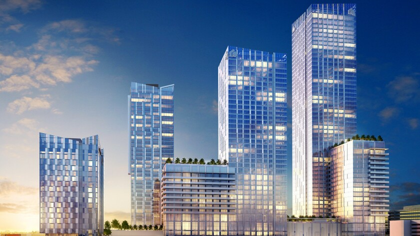 A rendering of the $1-billion Metropolis condominium, hotel and retail complex upon completion.