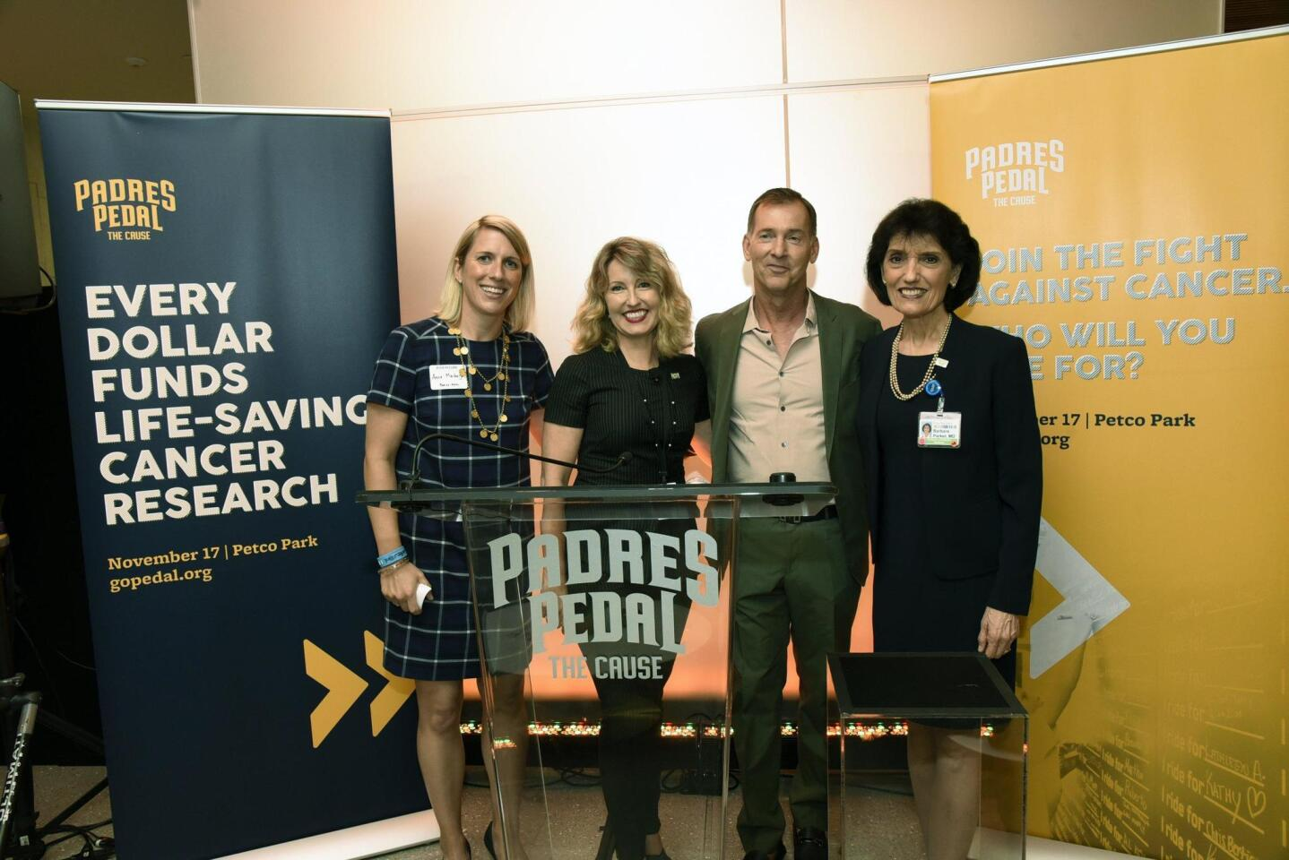 Padres Pedal the Cause Executive Director Anne Marbarger, guest speaker UCSD Moores Cancer Center Deputy Director Dr. Catriona Jamieson, Padres Pedal the Cause founder Bill Koman, guest speaker Dr. Barbara Parker