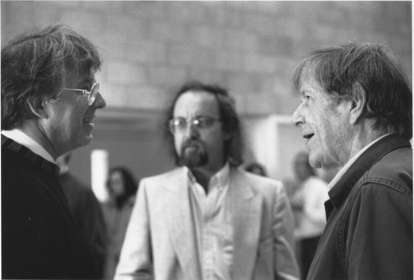 Composers Roger Reynolds (from left), Brian Ferneyhough and John Cage at UC San Diego in 1991. Photo: Bonnie Harkins