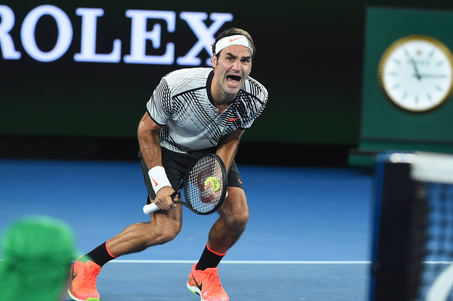 Roger Federer wins his 18th grand slam singles title against Rafael Nadal on Sunday, Jan. 29, 2017 at the 2017 Australian Open at Melbourne Park in Melbourne, Australia. (Corinne Dubreuil/Abaca Press/TNS) ** OUTS - ELSENT, FPG, TCN - OUTS **