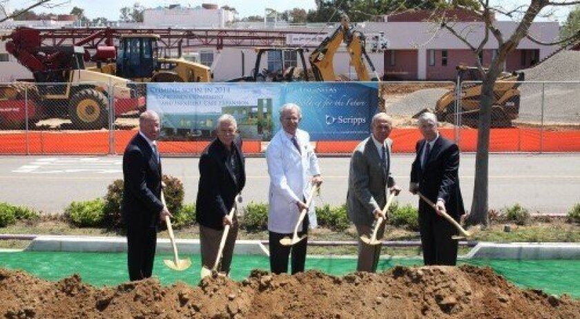 From left: Carl Etter, Chief Kevin Crawford, Dr. Michael Lobatz, Tyler Miller and Jim Ashcraft join in at the groundbreaking ceremony for the new Scripps Encinitas Critical Care Building. Courtesy