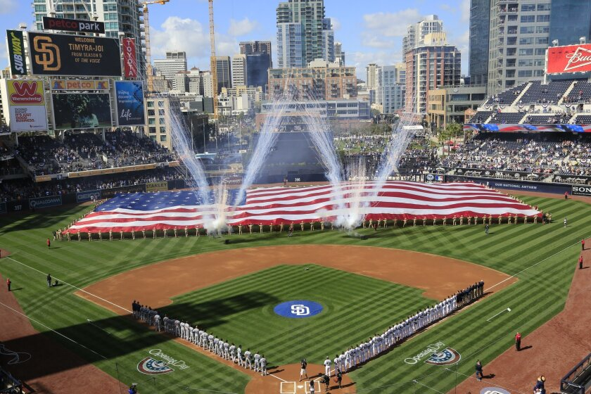 Opening day festivities before the Padres take on the Los Angeles Dodgers.