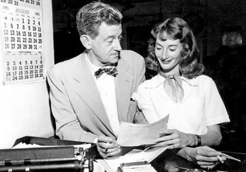 """Preston Sturges with Sandy. """"I didn't know whether to adopt her or to marry her,"""" he wrote in his autobiography. They married in 1951; he died in 1959."""