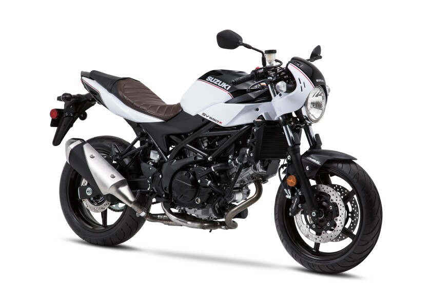 The SV650X model is upfitted with clip-on bars, pre-load front fork adjustment, ABS and some sporty styling cues.