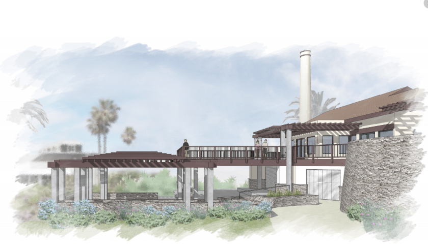 A rendering of the new balcony from the south side.