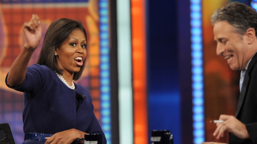"""'DAILY' AS USUAL: Michelle Obama visits """"The Daily Show With Jon Stewart."""""""