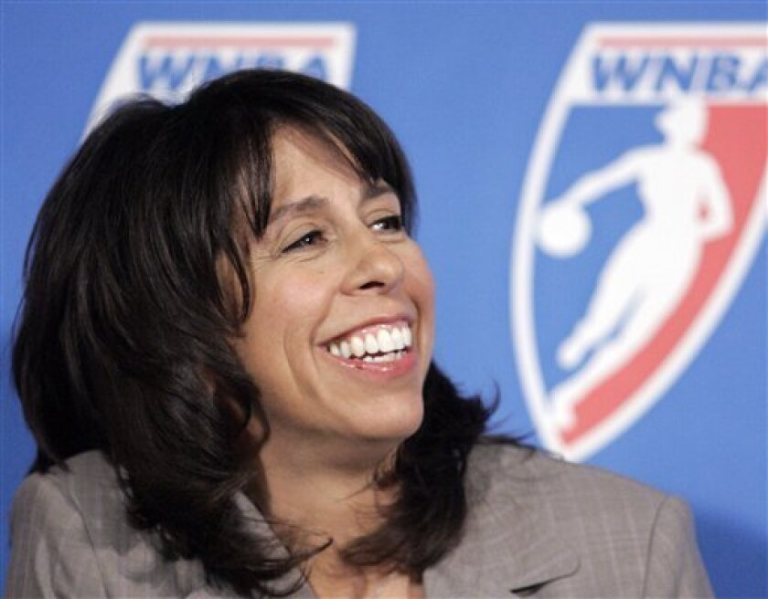 FILE - In this Sept. 5, 2007, file photo, WNBA President Donna Orender looks on during a news conference at the Palace in Auburn Hills, Mich. Orender is proud of what she's accomplished during her time as commissioner of the WNBA. From acquiring corporate sponsorships, increasing exposure, and for the first time having a team turn a profit, the league is in a better position than when she took office six years ago. (AP Photo/Carlos Osorio, File)