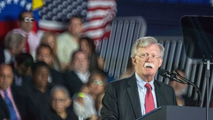 National Security Advisor John Bolton speaks in Miami, Fla. on Jan. 18.