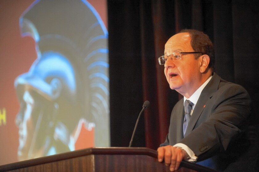 USC President C.L. Max Nikias addresses a crowd of alumni on a 2015 fundraising trip to Austin, Texa