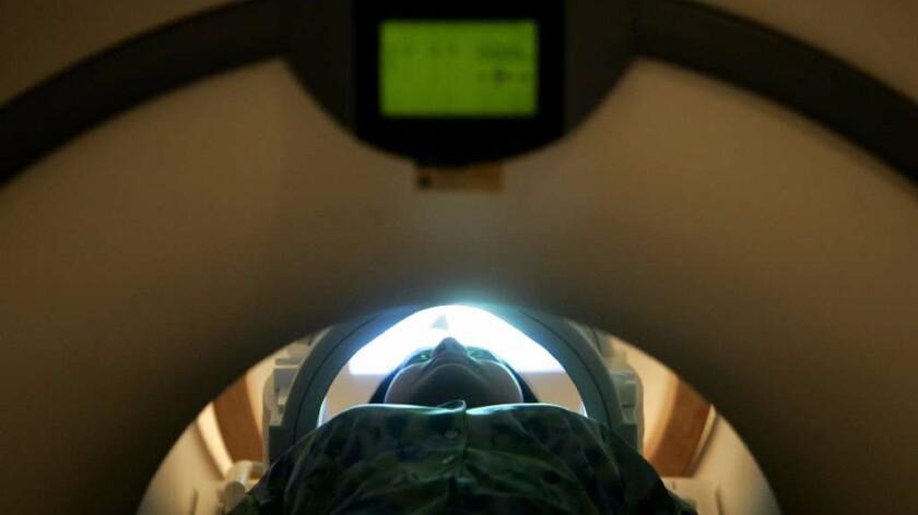 A patient undergoes an MRI exam.