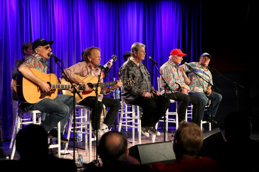 The Beach Boys, shown at the Grammy Museum in Los Angeles, end their 50th anniversary reunion tour Friday in London.