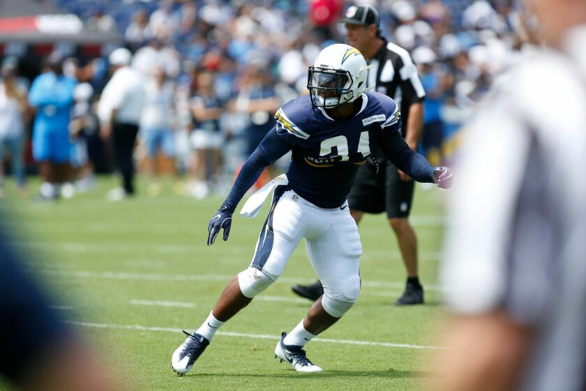 Chargers safety Adrian Phillips tries to read the offense during practice at Qualcomm Stadium.