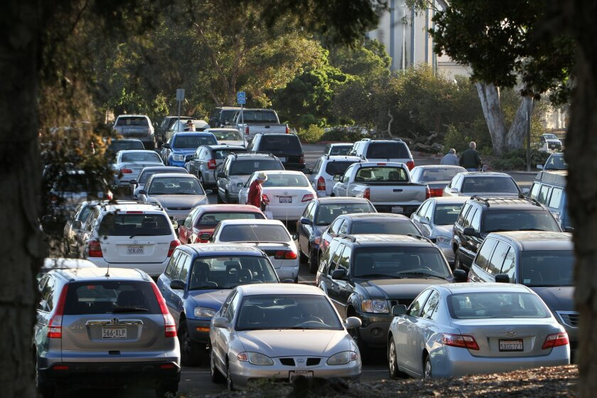 The parking lot south of the Spreckels Organ Pavilion in Balboa Park would become the site of a parking garage as part of a plan to remove cars from the Plaza de Panama. Sean M. Haffey • U-T