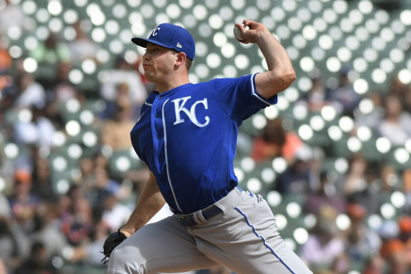 Kansas City Royals starting pitcher Kris Bubic throws against the Detroit Tigers in the fourth inning of a baseball game, Sunday, Sept. 26, 2021, in Detroit. (AP Photo/Jose Juarez)