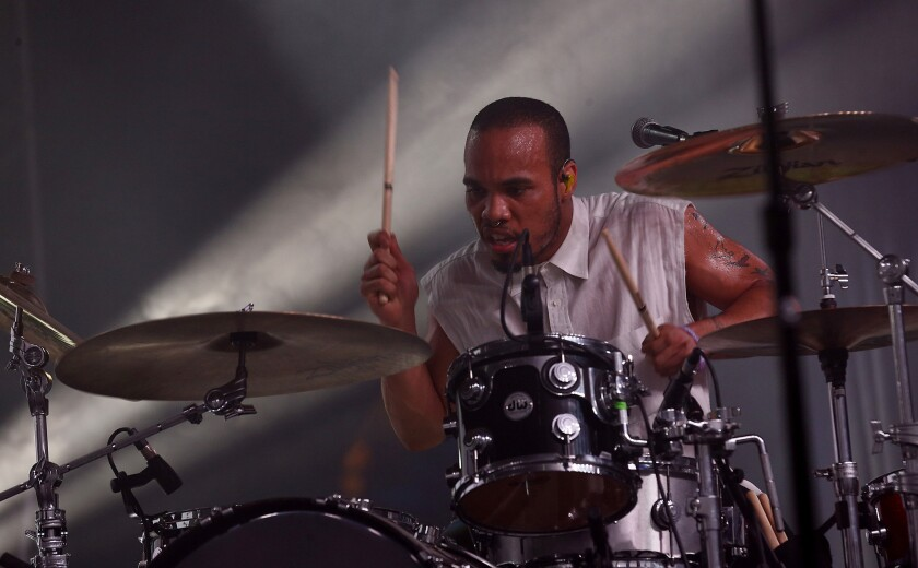 Singer, rapper and drummer Anderson .Paak performs at the Coachella Valley Music and Arts Festival.
