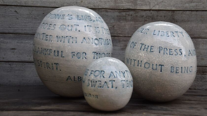 Ceramist Moye Thompson brings the beauty of words into the heart of a home by wrapping favorite quot